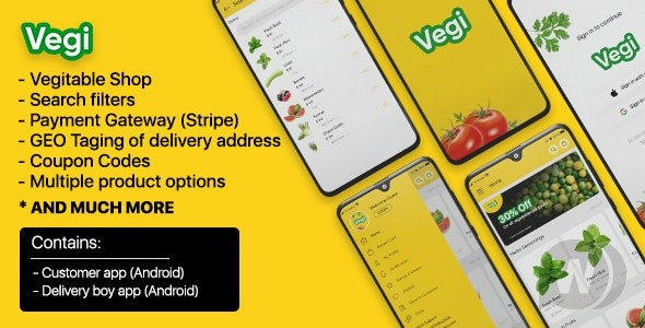 Vegi v1.0 – The Ultimate Grocery – Food – Milk Ordering app with Delivery boy & Admin : Android / Laravel