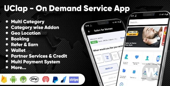 UClap v1.0 – On Demand Home Service App | UrbanClap Clone | Android App with Interactive Admin Panel