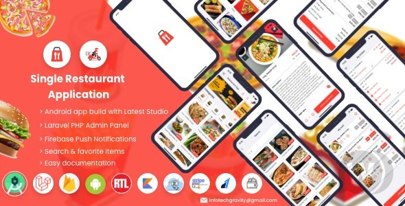 Single restaurant food ordering app 5.0 NULLED – Android App with Admin Panel