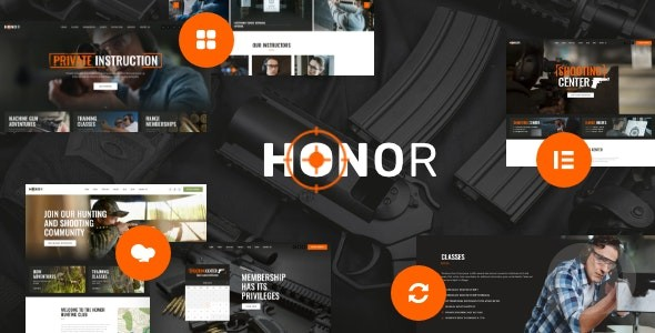 Honor v1. 3. 0 / WordPress theme for a shooting club and a gun store
